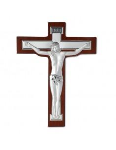 Cristo argento su croce legno