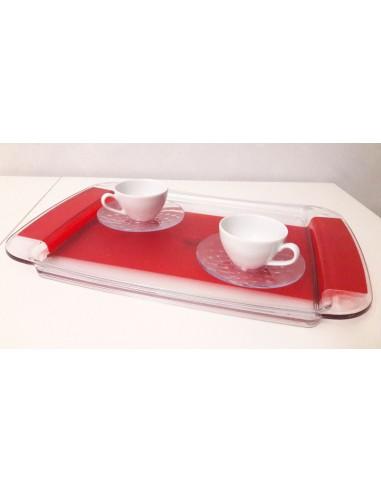 SET VASSOIO ROSSO M4219RR-TAZZE CAFFE' M5330TR