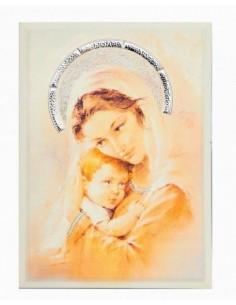 Quadro madonna con bambino PS300/5 su pannello con strass e placca in argento