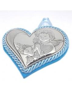 Capo culla Medaglione cuore argento celeste