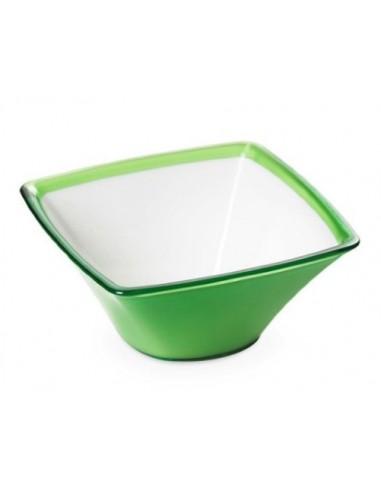 Ciotolina quadrata in plastica bicolore da 50 CL Square-Verde
