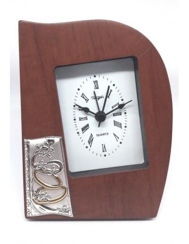 Sveglia legno con argento e fedi Nozze-SVB719