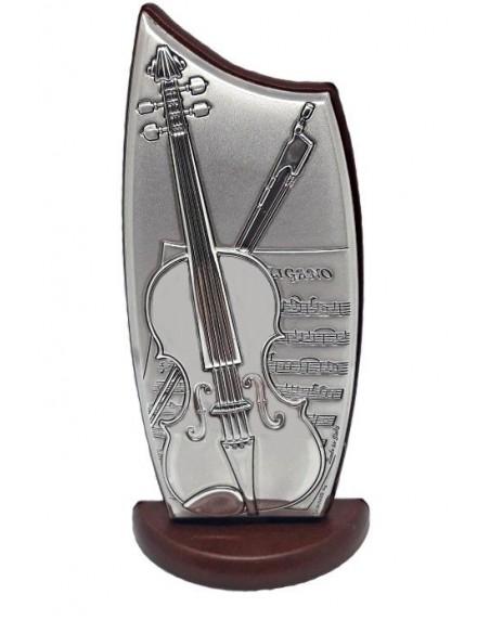 Icona violino in argento su legno