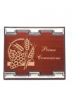 TARGA COMUNIONE IN LEGNO CON ARGENTO-TR253