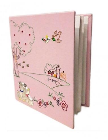 Album Porta foto Rosa ricamato semi aperto-16112R