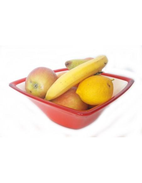 Insalatiera Square in plastica colorata Rossa con frutta bicolore da 2,3 litri