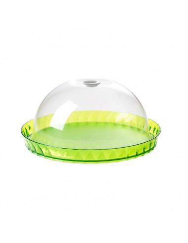 Tortiera Diamond porta dolci colorata 36 cm con campana salvafreschezza-Verde